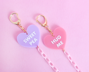 Candy hearts face mask chain