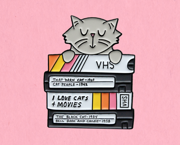 Cats and movies enamel lapel pin
