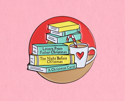 Christmas books enamel lapel pin