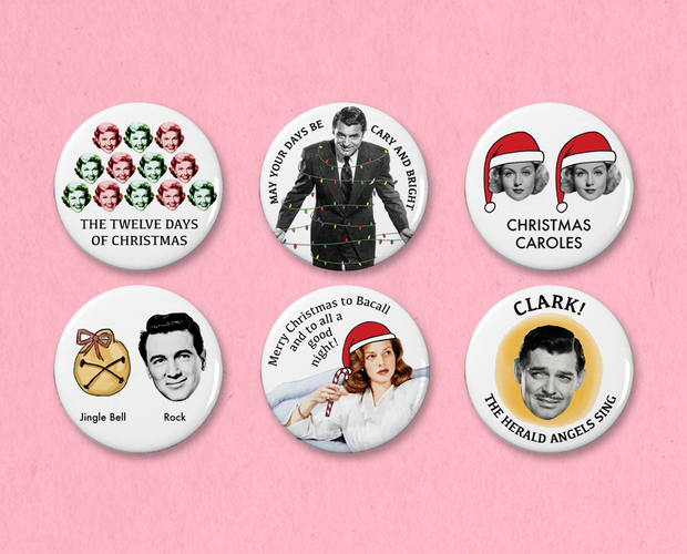 Classic Movie Christmas button or magnet set #1