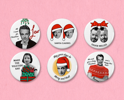 Classic Movie Christmas button or magnet set #2