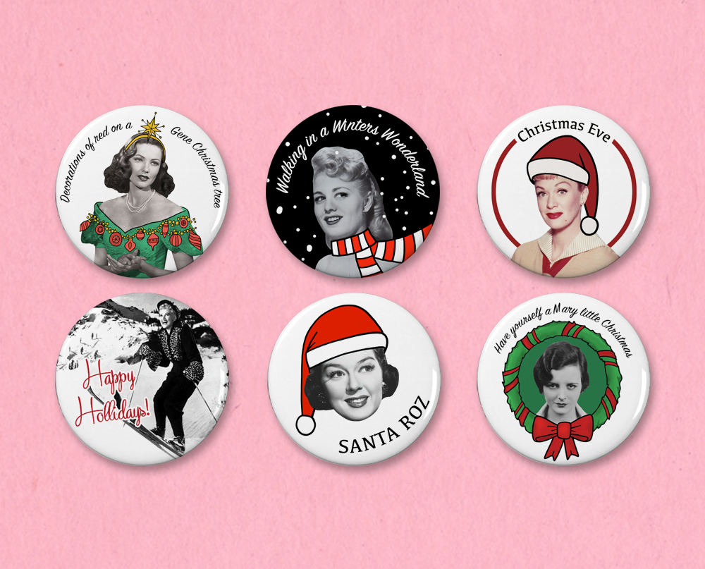 Classic Movie Christmas button set #3