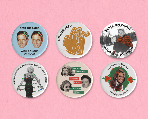 Classic Movie Christmas button set #5