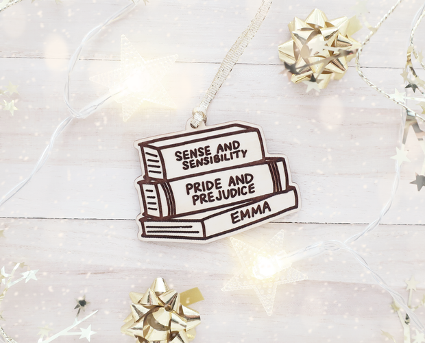 Custom stack of books Christmas ornament