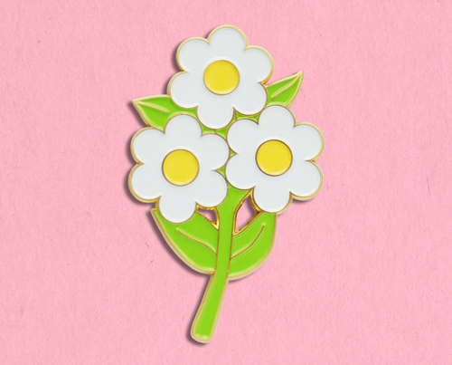 Retro daisies enamel lapel pin/brooch