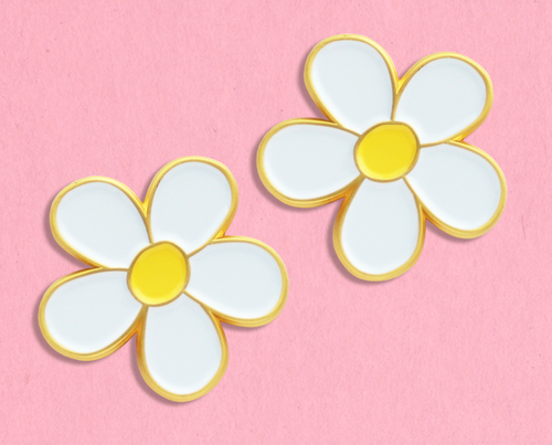 Daisies enamel lapel pin collar clip set