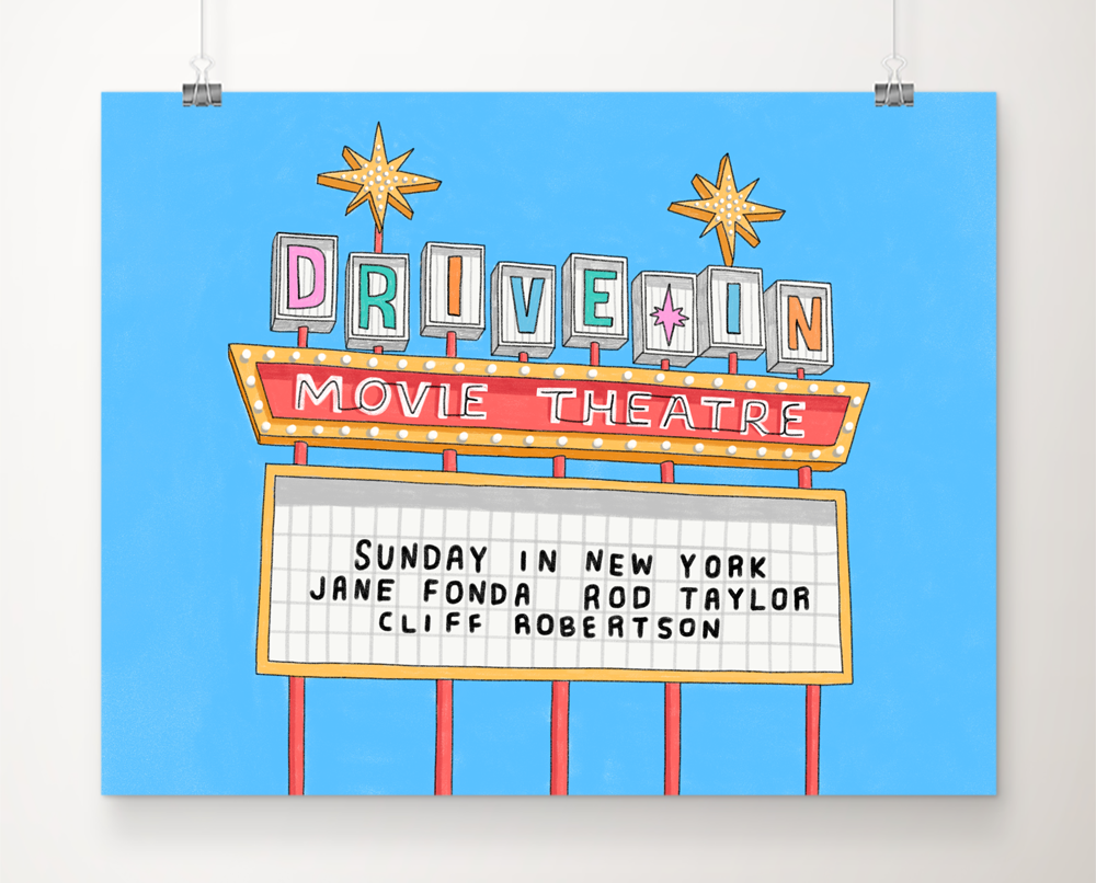 DIGITAL Drive-In Movie Marquee art print