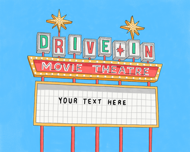 Reserved: Christmas colors Drive-In Movie Marquee art print