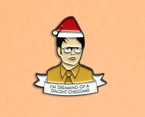 Dwight Christmas enamel lapel pin