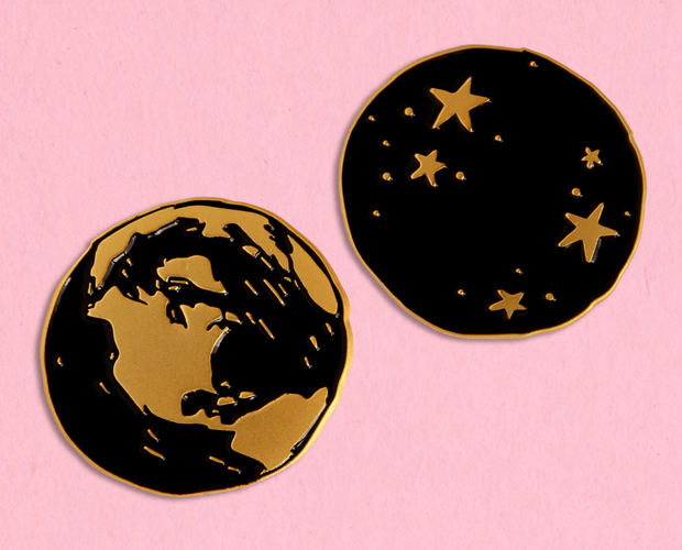 Earth and stars enamel lapel pin set