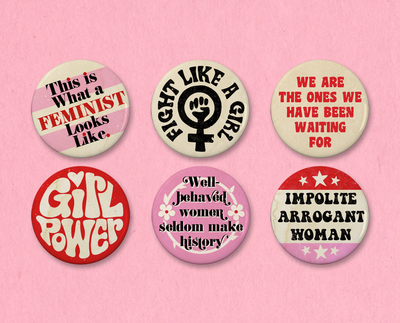 Feminist button or magnet set