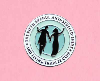 Fifth Avenue Anti-Stuffed Shirt and Flying Trapeze Club - Holiday enamel lapel pin