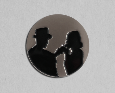 Film noir flame enamel lapel pin
