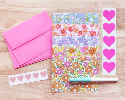 Retro floral blank note card set