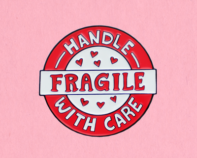 Fragile enamel lapel pin