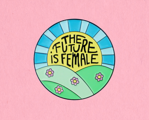Future is female enamel lapel pin