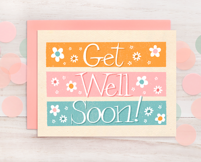 Get Well Soon retro style greeting card