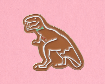 Gingerbread Dinosaur enamel lapel pin