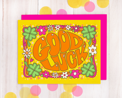 Good Luck retro style greeting card