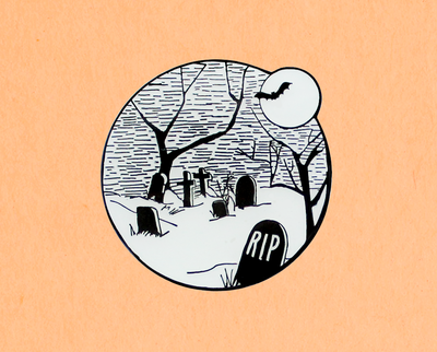 Glow in the dark Halloween graveyard enamel lapel pin