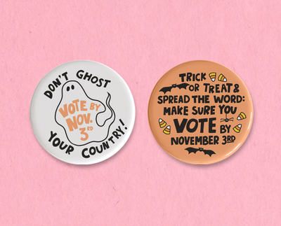 Halloween election day button set
