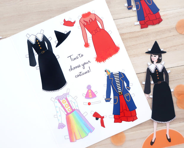 Paper doll Halloween greeting card