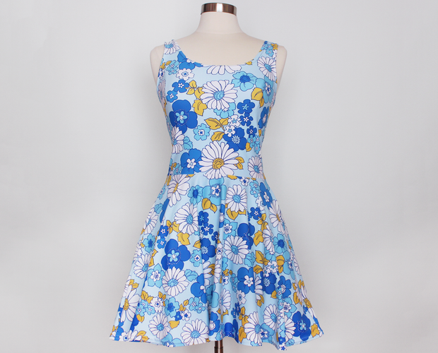 Hanukkah retro floral skater dress
