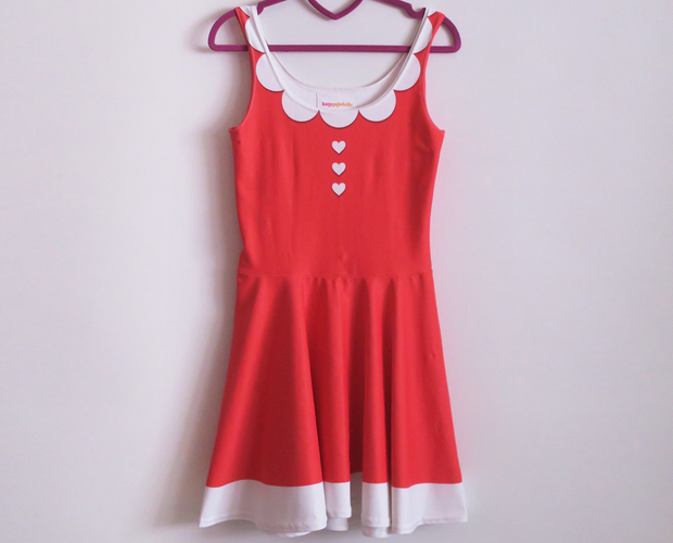 Illusion collar red skater dress - Size Small