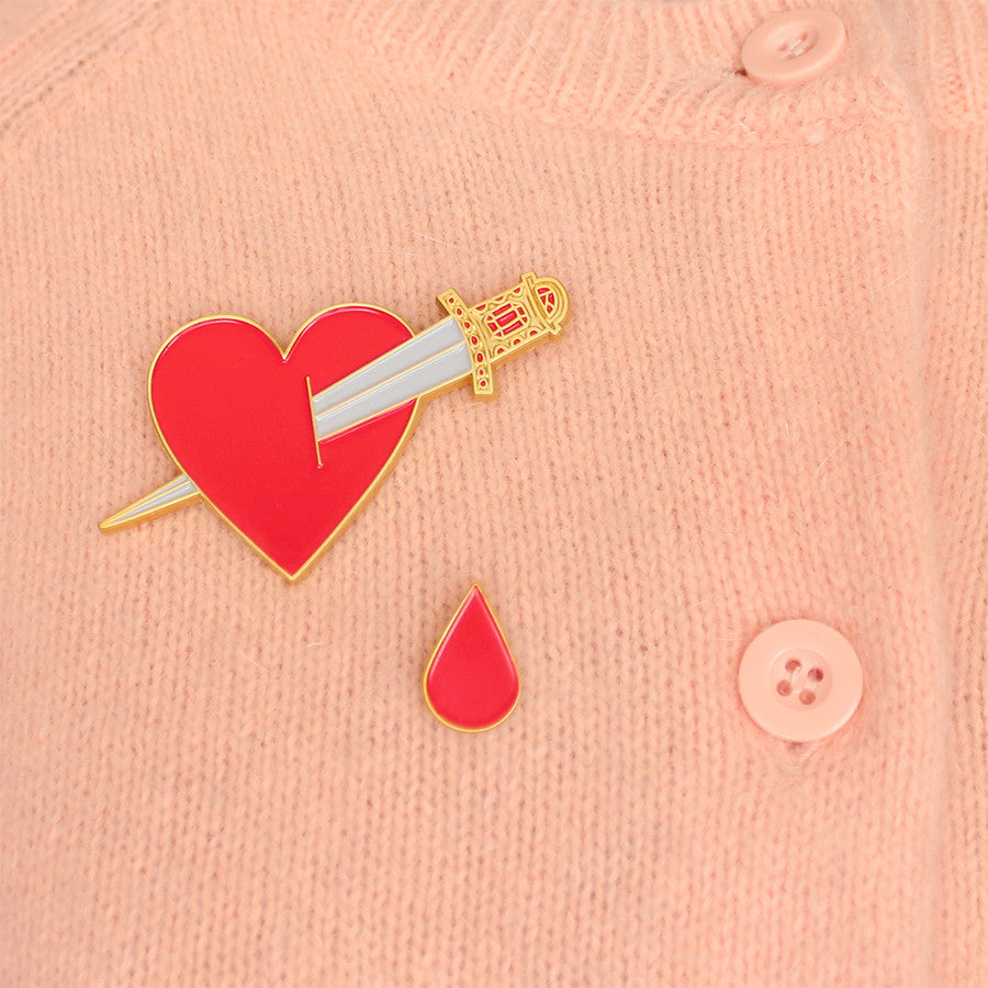 Bleeding heart enamel lapel pin/brooch set