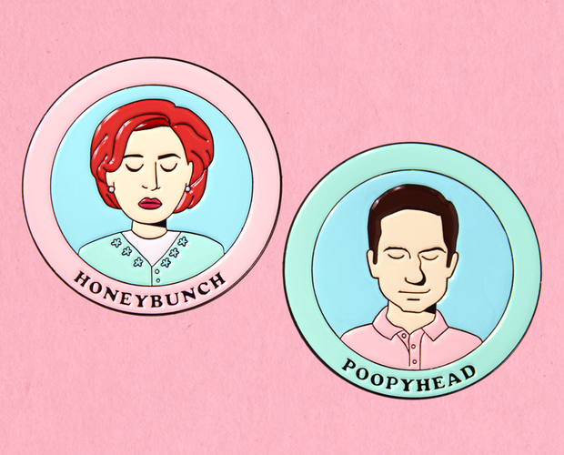 Honeybunch and Poopyhead X-Files enamel lapel pin set
