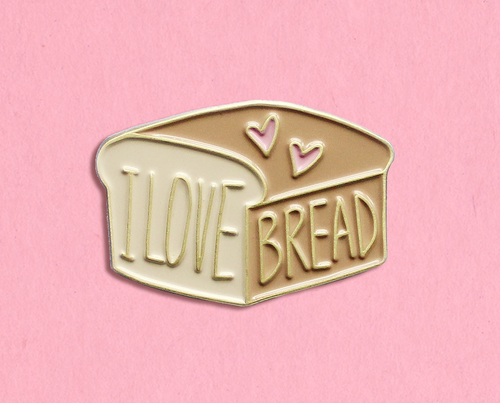 I love bread enamel lapel pin
