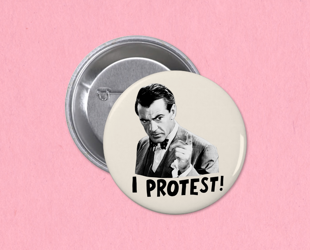 "Meet John Doe ""I Protest!"" button"