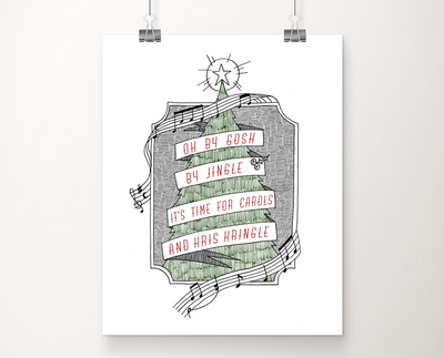 Carols and Kris Kringle art print