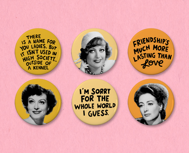 Joan Crawford button or magnet set