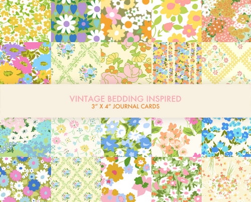 Vintage bedding 3x4 digital journal cards for project life