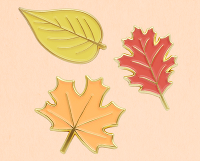 Autumn leaves enamel lapel pin set