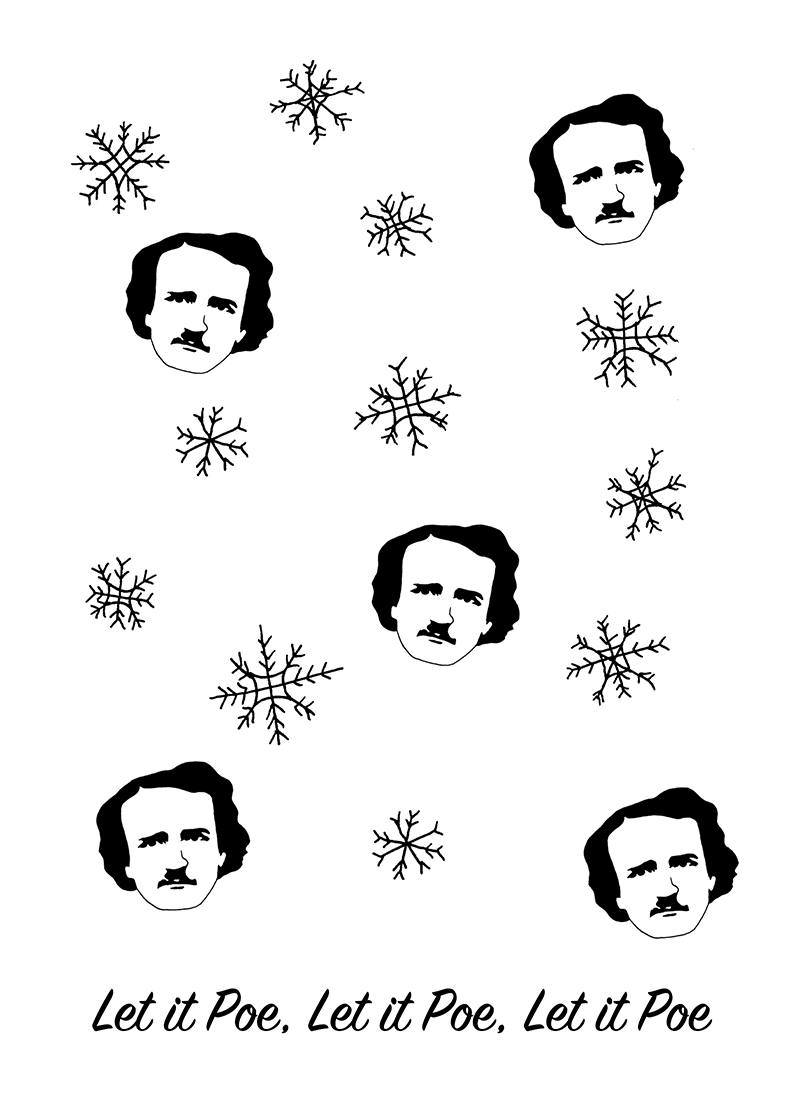 Let it Poe Christmas card set