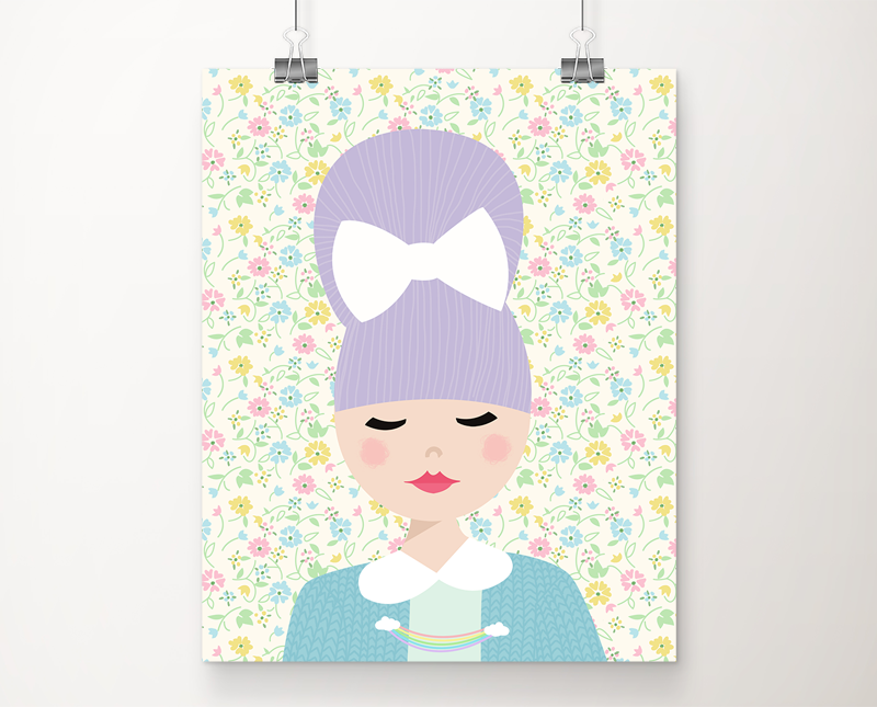 Mabel dreamed of flowers and pinwheels art print
