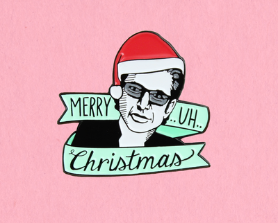 Merry .. uh.. Christmas enamel lapel pin