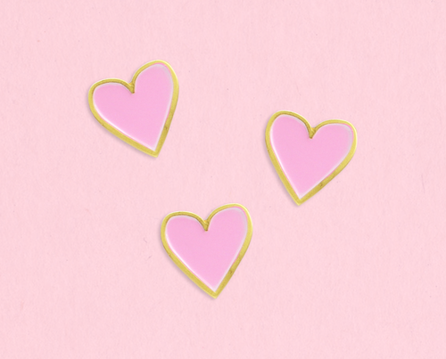 Mini heart enamel lapel pin set