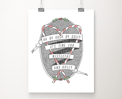 Mistletoe and Holly art print