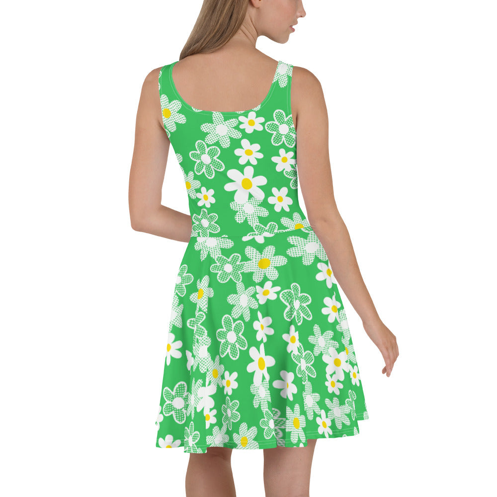 Vintage inspired green daisy skater dress