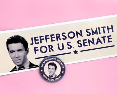 Mr. Smith Goes to Washington button and bumper sticker set