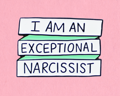 Exceptional narcissist enamel lapel pin