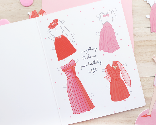 Paper doll Birthday greeting card
