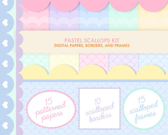 Pastel Scallops digital kit