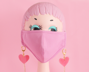 Pink hearts face mask chain