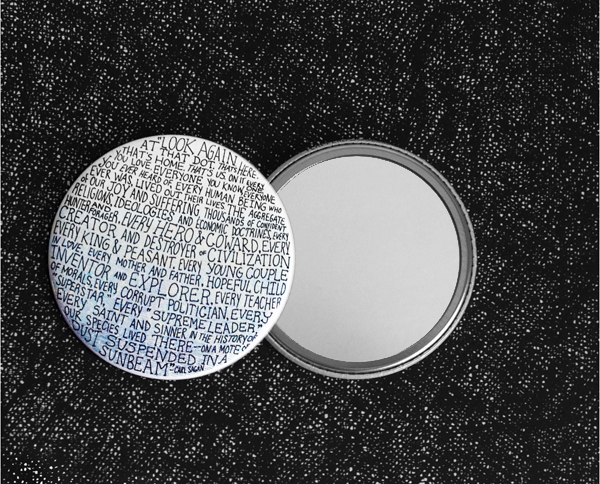 pale blue dot pocket mirror