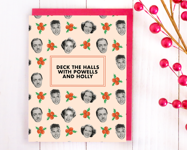 Powells and holly Christmas card