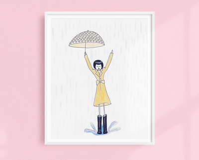 Eloise jumps in a puddle art print